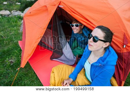 Tourists Near The Tent.
