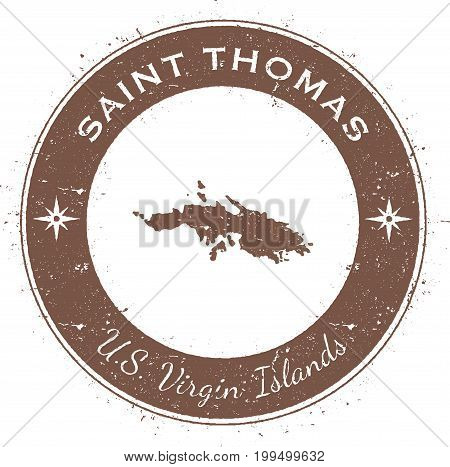 Saint Thomas Circular Patriotic Badge. Grunge Rubber Stamp With Island Flag, Map And Name Written Al
