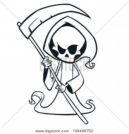 Cute cartoon grim reaper with scythe isolated on white. Cute Halloween skeleton death character outlines. Line art for coloring book