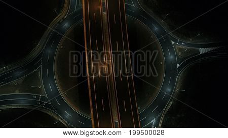 aerial view of highway empty road city  street in night