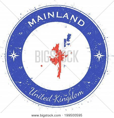 Mainland Circular Patriotic Badge. Grunge Rubber Stamp With Island Flag, Map And Name Written Along