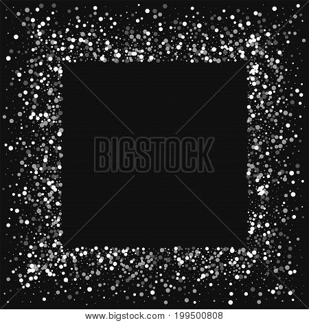 Random Falling White Dots. Square Messy Frame With Random Falling White Dots On Black Background. Ve