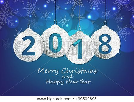 Merry Christmas and happy new year hanging 2018 number glitter balls on shiny blue background.