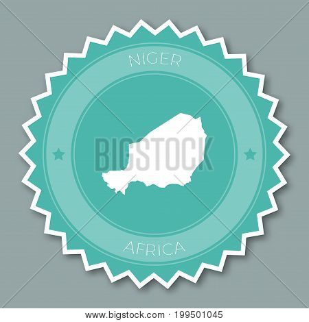 Niger Badge Flat Design. Round Flat Style Sticker Of Trendy Colors With Country Map And Name. Countr