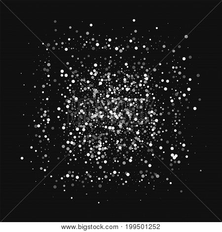 Random Falling White Dots. Square Shape With Random Falling White Dots On Black Background. Vector I