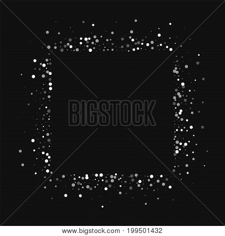 Random Falling White Dots. Square Abstract Mess With Random Falling White Dots On Black Background.