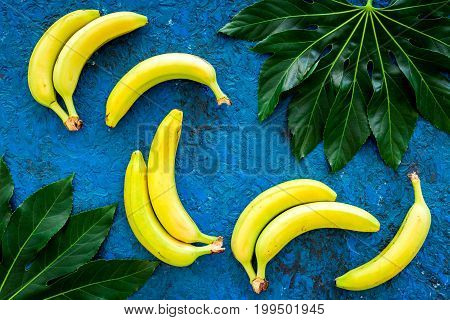 In the jungle. Bananas near big tropical leaves on blue background top view.