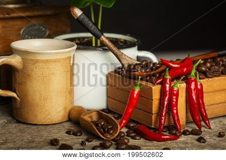 Coffee beans and fresh chili peppers. Trade in crops. Advertise for coffee shop