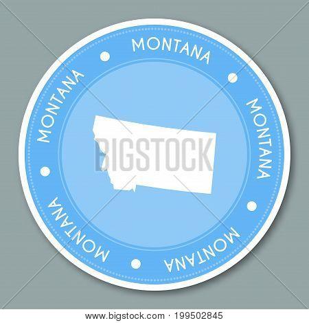 Montana Label Flat Sticker Design. Patriotic Us State Map Round Lable. Round Badge Vector Illustrati