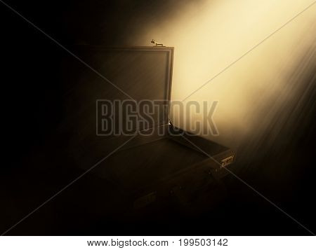 3D render of an open briefcase with rays shining into it