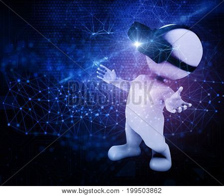 3D render of a male figure wearing a VR headset on an abstract techno background