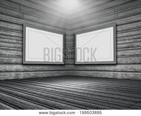 3D render of a grunge wooden room interior with blank picture frames