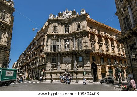 Palermo.Italy.May 26 2017.A view of the Piazza Quattro Canti in Palermo . Sicily