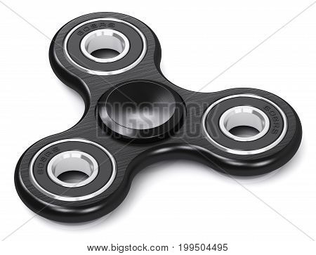 Creative abstract 3D render illustration of black metal fidget spinner toy isolated on white background with reflection effect