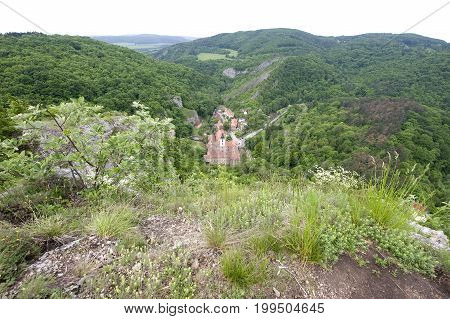 Bohemian church in a landscape, Svaty Jan pod Skalou, Czech republic