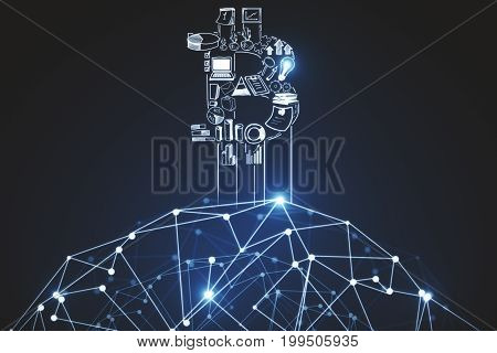 Creative polygonal bitcoin background. E-business concept. 3D Rendering