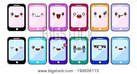 Smartphone cartoon characters funny faces. Set of Kawaii cheerful mobiles. Online apps. Flat design Vector Illustration