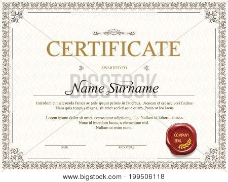 Certificate template design for achievement graduation completion with stamp and watermark. Stock vector illustration.