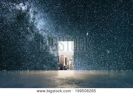 Small opening with city view in abstract space starry sky interior with concrete floor. Opportunity concept