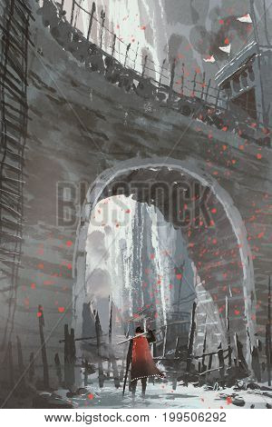 knight in red cape with sword standing under the old stone arch bridge, digital art style, illustration painting