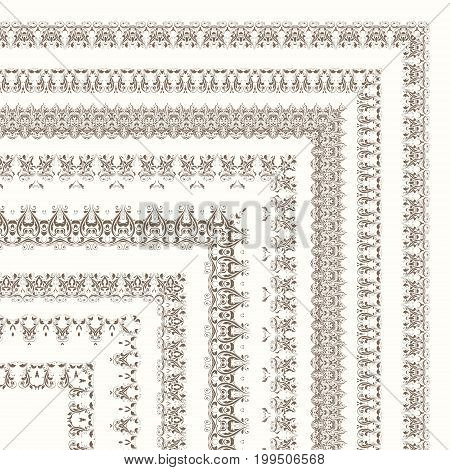 Set of ornate frames and borders isolated on white background. Design for diploma and certificate. Stock vector illustration.