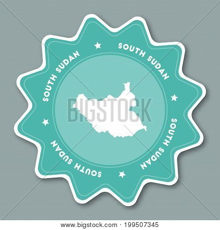 South Sudan Map Sticker In Trendy Colors. Star Shaped Travel Sticker With Country Name And Map. Can