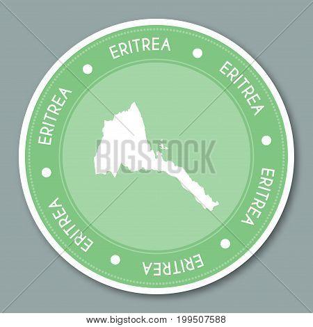 Eritrea Label Flat Sticker Design. Patriotic Country Map Round Lable. Country Sticker Vector Illustr