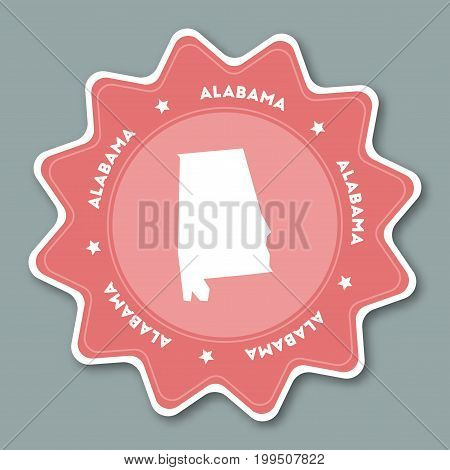 Alabama Map Sticker In Trendy Colors. Travel Sticker With Us State Name And Map. Can Be Used As Logo