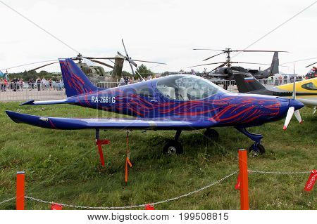 Moscow Region - July 21 2017: Blue sports aircraft of the Czech company BRM Aero Bristell at the International Aviation and Space Salon in Zhukovsky.