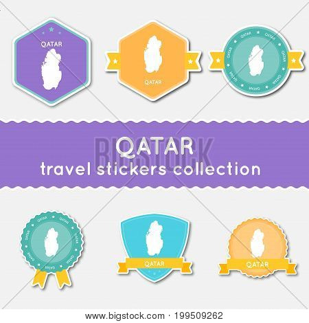 Qatar Travel Stickers Collection. Big Set Of Stickers With Country Map And Name. Flat Material Style