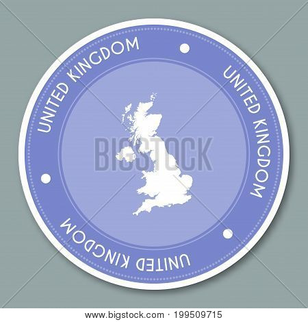 United Kingdom Label Flat Sticker Design. Patriotic Country Map Round Lable. Country Sticker Vector