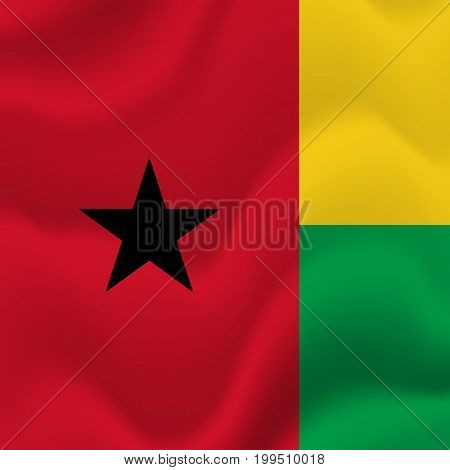 Guinea-Bissau waving flag. Waving flag. Vector illustration.