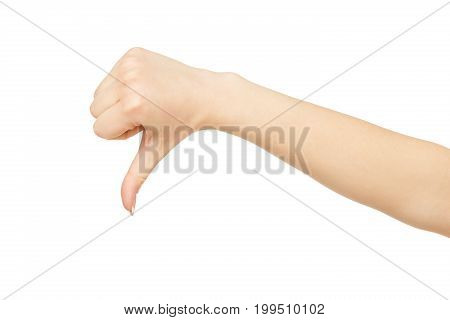 Woman's showing thumb down isolated on white background, close-up, cutout, copy space. Hand showing disapproval gesture, disagree concept.