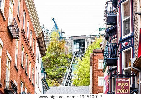 Quebec City Canada - May 30 2017: Lower old town street called Rue Sous Fort with Funiculaire rail going up