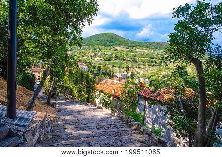 Arqua Petrarca, Italy - July, 27, 2017: street in a center of Arqua Petrarca, Italy
