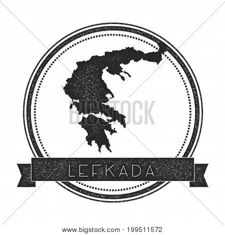 Lefkada Map Stamp. Retro Distressed Insignia. Hipster Round Badge With Text Banner. Island Vector Il
