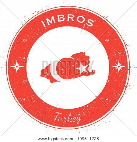 Imbros Circular Patriotic Badge. Grunge Rubber Stamp With Island Flag, Map And Name Written Along Ci