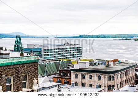 Cityscape Or Skyline Of Lower Old Town Buildings With View Of Saint Lawrence River In Quebec City, C