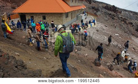 Parque Nacional Cotopaxi, Cotopaxi / Ecuador - August 11 2017: Tourists visiting the Jose Rivas refuge located at 4800 meters in the volcano Cotopaxi