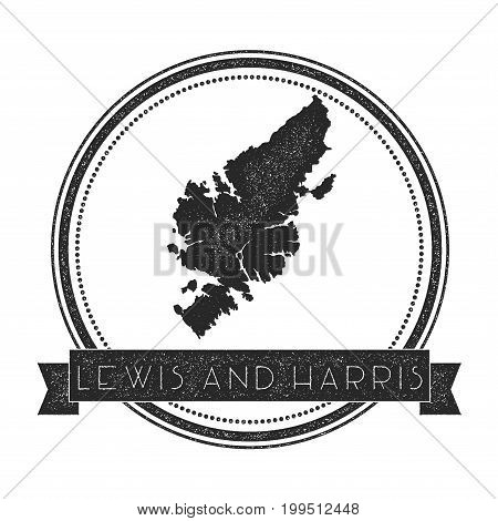 Lewis And Harris Map Stamp. Retro Distressed Insignia. Hipster Round Badge With Text Banner. Island