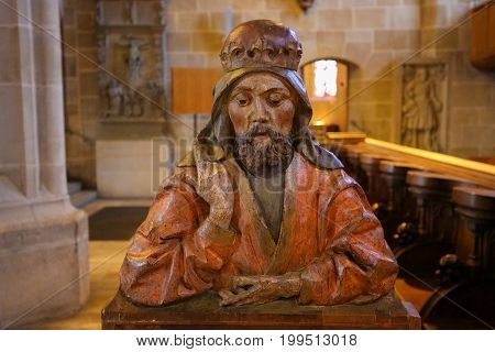 Statue Of A Saint In The Stiftskirche In Tubingen