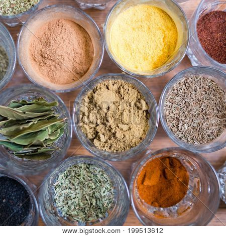 Variation Of Colorful Spices -  Dry Spices On Table