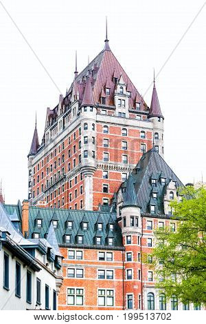 Quebec City Canada - May 30 2017: View of Chateau Frontenac by old town during summer with green trees