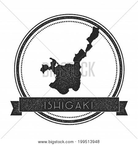 Ishigaki Map Stamp. Retro Distressed Insignia. Hipster Round Badge With Text Banner. Island Vector I