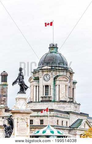 Quebec City, Canada - May 30, 2017: Old Town View Of Champlain Monument Statue During Heavy Rain Wit
