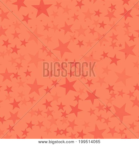 Red Stars Seamless Pattern On Coral Background. Mind-blowing Endless Random Scattered Red Stars Fest