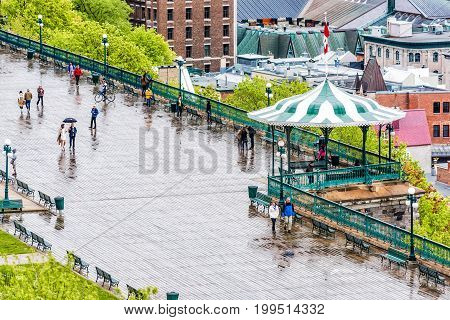 Quebec City, Canada - May 30, 2017: Aerial Cityscape Or Skyline View Of Dufferin Terrace And People