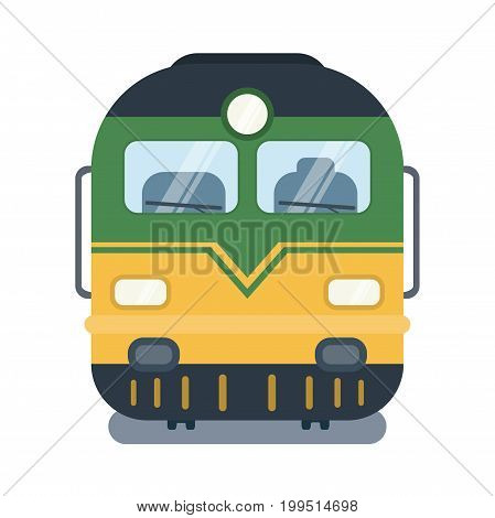 Vector modern flat illustration of front side of locomotive.