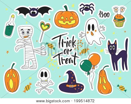 Halloween fashion cute cartoon doodle patch badges with ghosts cat spider pumpkins and other elements. Set of stickers pins patches in cartoon comic style of 80s-90s. Vector collection