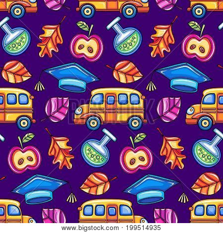 Back to school. Colorful seamless vector pattern with schoolchildren design elements . Good for textile fabric design children wrapping paper and educational website wallpapers students social media